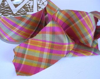 "Gerbera Gala hot pink and orange plaid Dupioni Ribbon 2"" wide sold by the yard"