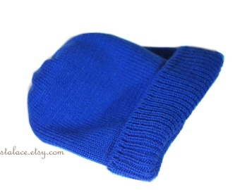 Royal Blue Beanie Hat For Men Flat Knit Simple folder hat Winter Knit Hat