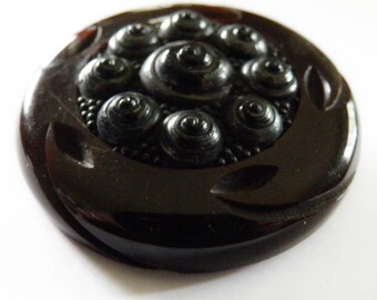 Bakelite Button Chocolate Brown with Unusual OME