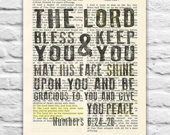 Vintage Bible page verse - The Lord Bless you & Keep you - Numbers 6:24-26 Instant DIGITAL DOWNLOAD, 8x10 11x14, dictionary christian gift