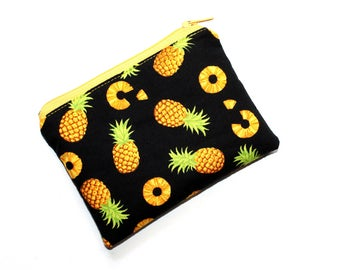 Small Zippered Pouch in Gorgeous Pineapple Fabric