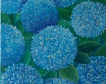 Hydrangeas Painting Blue Hydrangeas Painting Hydrangea Painting Hydrangea Acrylic Painting 8 x 10 Inches