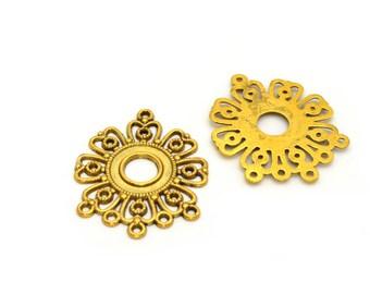 2 antique gold flower connectors