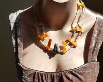 Orange Pearl bib necklace