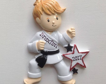 Black Belt Boy ,Tae Kwon Do, Kung Fu, Judo Karate, Jujutsu, Fujitsu Sports-  Personalized Christmas Ornament