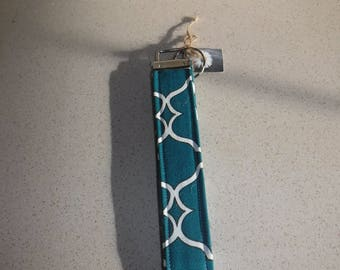 Teal and White Key Fob, Key  Chain, Key Lanyard
