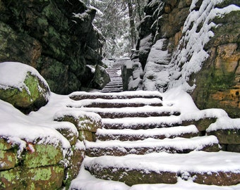 Winter Stairway 4x6 Snow Scene Primitive Nature Photography