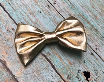 Matte Gold Soft Leather Bow Barrette