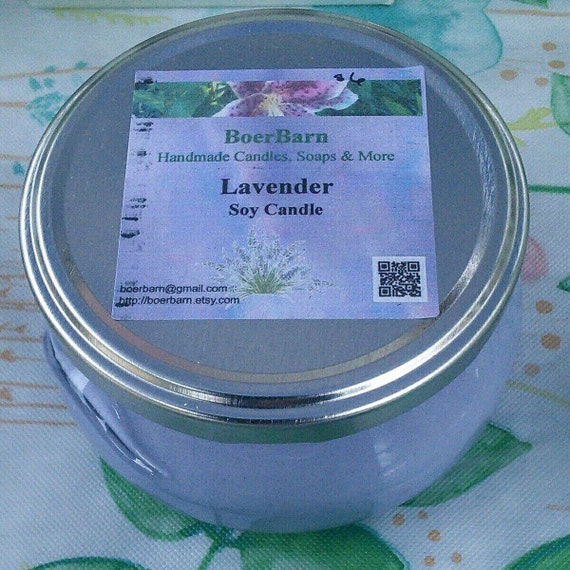 Purple Lavender Scented Soy Candles in Glass Tureen Jars - Choose from 3, 6 or 11 oz