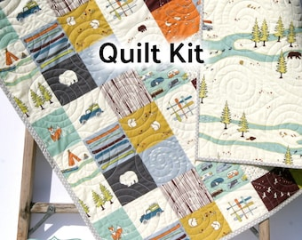 Organic Quilt Kit Camp Sur Birch Fabrics Cheater Patchwork Blanket DIY Wholecloth JayCyn Camping Outdoors Out of Print Hard to Find OOP HTF