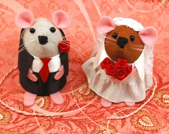 Mixed Race Wedding Cake Topper adorable couple wedding rats gift special memento couple - Mr and Mrs Mouse - Personalised & Custom possible
