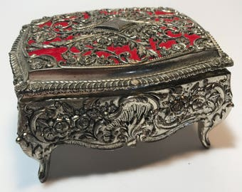 Ornate Jewelry Case with hinged lid
