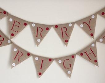 Merry & Bright Burlap Banner-Christmas Banner-Christmas Burlap Banner-Free Shipping!