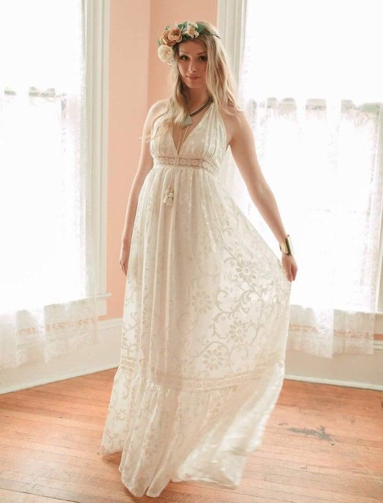 Boho Wedding Dress Velvet Burnout Dress Halter Wedding