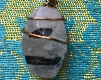 Tourmalinated quartz necklace