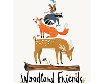 "Woodland Friends Print, 11"" x 14"""
