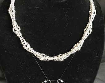 Chainmaille Ripple Necklace and Earrings