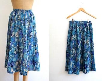 vintage midi skirt / Liberty of London / Blue Tulip
