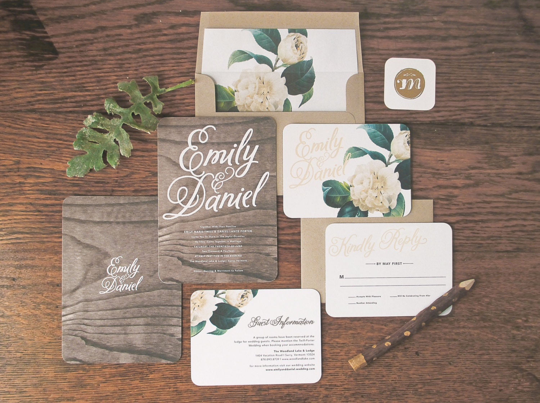 Rustic Romantic Wedding Invitations: Woodland Floral Wedding Invitation & Correspondence Set