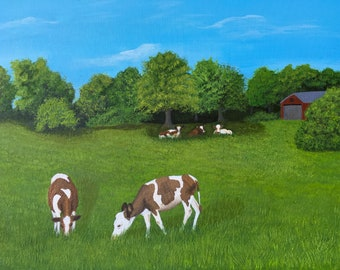 Pasture Peace- Landscape,Pasture,Cows.Original painting,wall art, country field