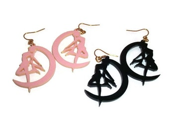 Sailor Moon Earrings, Kawaii Pastel Pink or Black, Kawaii Anime, Usagi, Laser Cut
