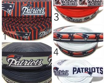 Patriots Ribbon, New England Patriots Grosgrain ribbon by the yard, New England Ribbon