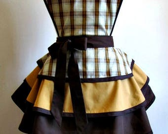 Apron # 563 - Brown beige plaid over gold and dark brown layered retro apron
