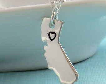 State of California Necklace • Stamped Heart • Sterling Silver • Northern California • Southern California • California Love • Moving Gift