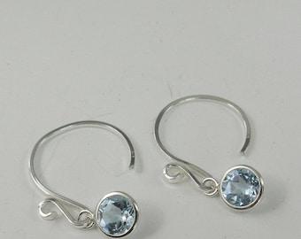 Memorial Day Sale Sky Blue Topaz 6mm 2ctw Sterling Silver Dangle Earrings