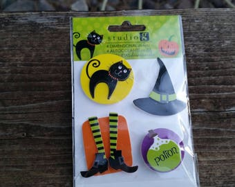 Halloween dimensional stickers - adhesive backs scrapbook embellishment craft supplies, potion, hat, witch shoes, black cat - studio g