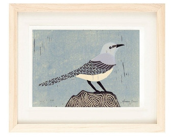 MOCKINGBIRD Linocut Reproduction Art Print: 4 x 6, 5 x 7