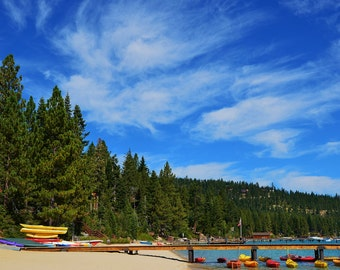 Color Photo of Lake Tahoe Kayak Beach with Feathery Clouds and Blue Sky - Yellow and Orange Kayaks - Photography Art - Instant download
