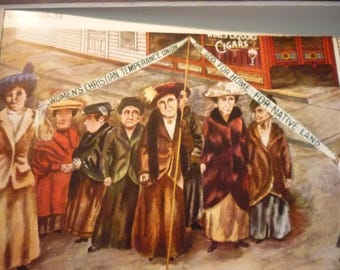 Vintage - Ben Shahn, WCTU Parade, 1933-4  - Matted and Framed Print American realist - for art lovers - color plate  WPA realism