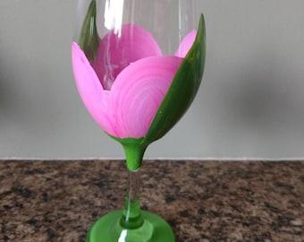 Pink Tulip Wine Glass