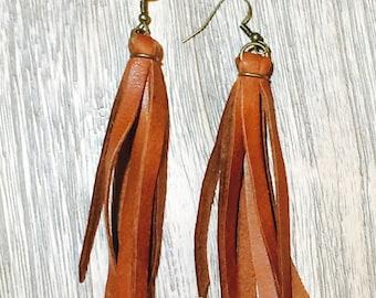 Cognac boho fringe earrings