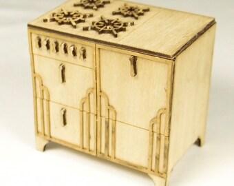1:24 scale miniature dollhouse furniture kit Art Deco stove
