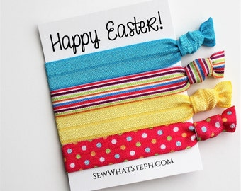Easter Basket Stuffer / Basket Filler / Hair Ties 4-ct / Easter egg colors / Easter Hair Ties / Hair Bands