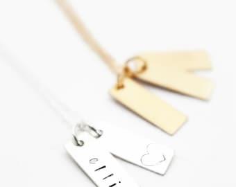Mom Bar Necklace, Wedding Date Bar Necklace, Vertical Bar Necklace, Name Bar Necklace, Sterling Silver or Gold Filled, Gold Bar Necklace