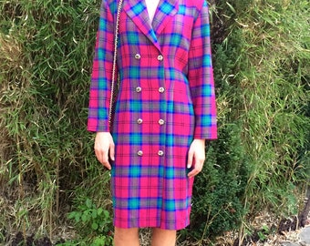 Vintage 80s tartan double breasted dress UK