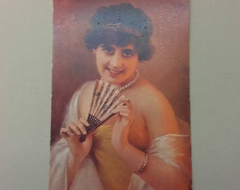 Postcard Vintage Old Rare Lady With A Fan Kokett Made In France 1925