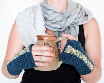 Knit Arm Warmers Knit Blue Gloves Cable Gloves Womens Armwarmers Cozy Gloves Warm Winter Gloves Winter Accessories Texting Gloves