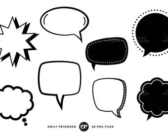 Speech Bubble Clip Art, Speech Balloon Clipart, Thought Cloud Clip Art - Commercial Use, Instant Download