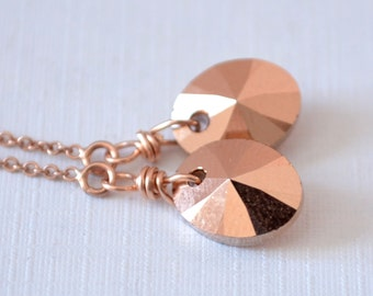 Long Rose Gold Earrings, Threader Earrings, Metallic, Real Swarovski Crystal, Cable Chain, Dainty Pink Gold Jewelry