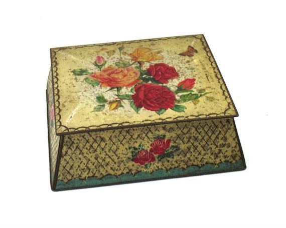Vintage Floral Biscuit Tin by CWS