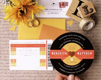 Rockabilly Record with Ticket Stub RSVP Card - 50s LP Inspired Diecut Invitation for Wedding, Birthday, Special Event, or Bar / Bat Mitzvah