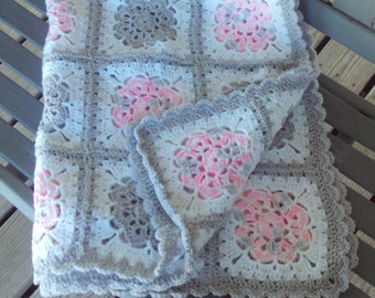Afghan,Baby,Newborn,Infant,Shower,Gift,Photo's,Crocheted,Gray,Pink,White,Girls,lapghan