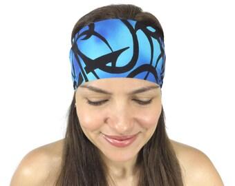 Running Headband Workout Headband Blue Yoga Headband Fitness Headband Boho Wide Headband No Slip Apparel Headband Wicking Headband S101