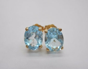14K Blue Topaz Earrings, Yellow Gold Studs, Estate Jewelry, Stud Earrings, Gifts for Her, December Birthstone, #3108
