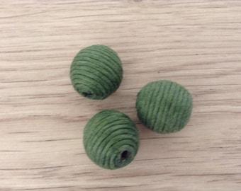 Beads textile green x 3