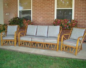 Charming Vintage Frankl Or Wakefield (?) 3 Piece Rattan Furniture Set